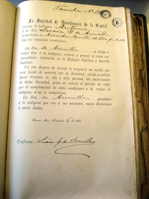Figura  4. Contrato de colocación de la Sociedad de Beneficencia de la Capital