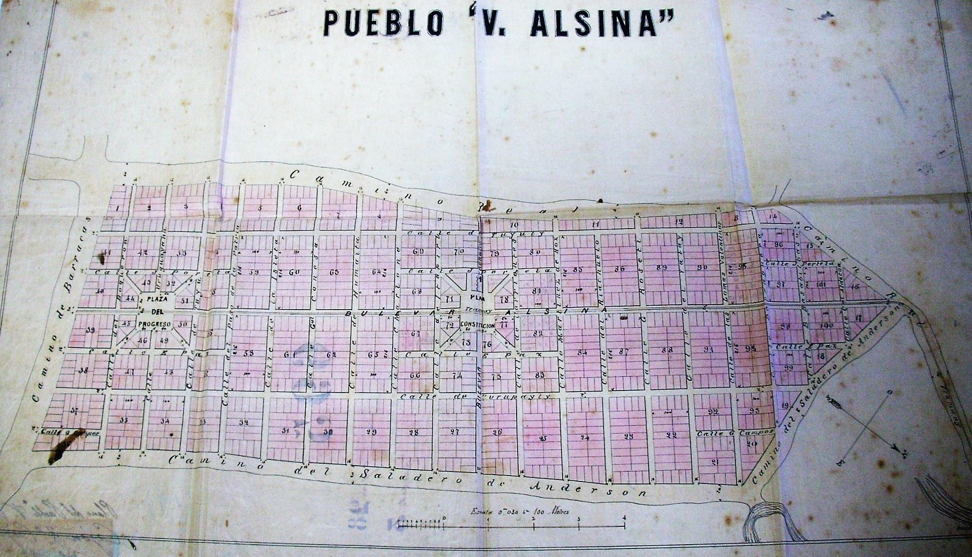 Plano del pueblo Valentín  Alsina (1875)