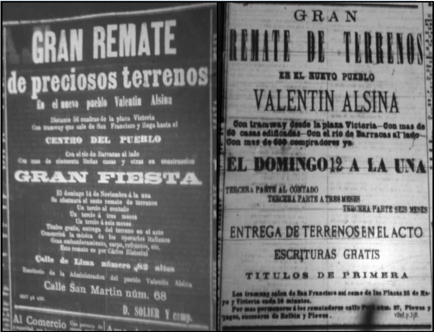 Avisos de los remates de  terrenos en Valentín Alsina (1875)