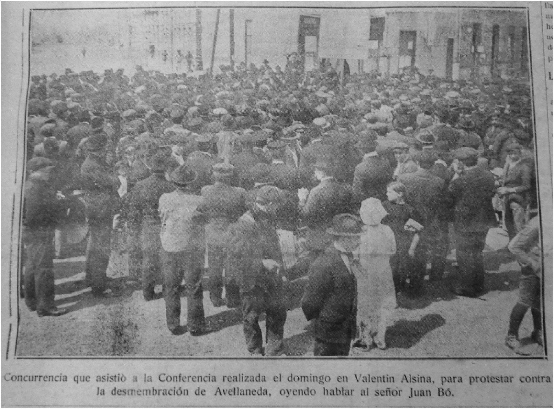 Mitin anti autonomista en  Valentín Alsina (octubre de 1919)